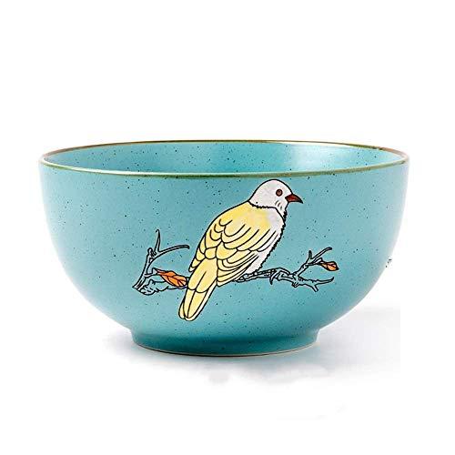 ShiSyan Pintado a Mano de Flores y pájaros Puros de cerámica vajilla Cubiertos Conjunto de Fideos Plato de Sopa Plato de Arroz Occidental Filete de Pescado Plato Placa Plato Azul Platos