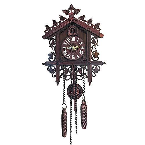 Reloj de pared de cuco, de madera, estilo retro, para colgar artesanal, tradicional, para salón, hogar, restaurante, cafetería, color negro