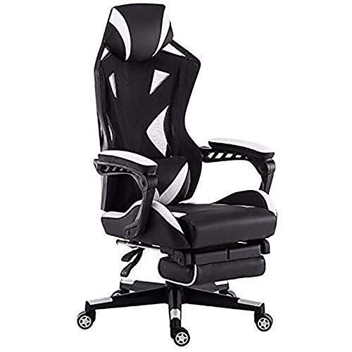 WDZJM Gaming Stuhl, Heimspiele Gaming Chair Ergonomischer Bürostuhl sitzender Stuhl Mesh Atmungsaktiver Computerstuhl mit Fußhocker (Color : White)
