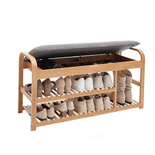 HSTD Shoe Bench, 2 Tiers Bamboo Shoe Bench With Storage Space and Seat Cushion, Shoes Organizer for Living Room,Hallway Cloakroom and Entryway, 100x 33 X 50 Cm Can be stored