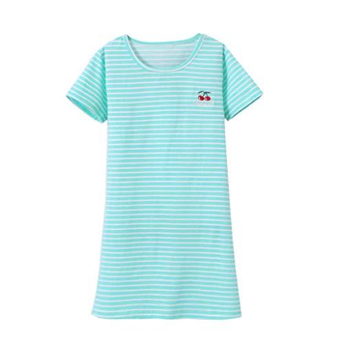 JERFER Black Friday Limited Deals Kinder Mädchen Kleid Kurzarm Gestreift Kirsche Drucken Pyjama Nachtwäsche Nachthemd