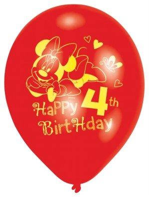 Ballons de latex 4eme anniversaire Minnie Mouse