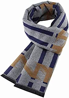 Men's Scarf Geometric Autumn Winter Business Scarf Winter Warm Scarf,Blue yppss (Color : Blue, Size : -)