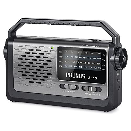 Radio portátil PRUNUS J-15 con recepción superior en el área FM, AM y KW; receptor DSP fabricado en Estados Unidos; funciona con red eléctrica o batería con tres celdas D; con linterna integrada.
