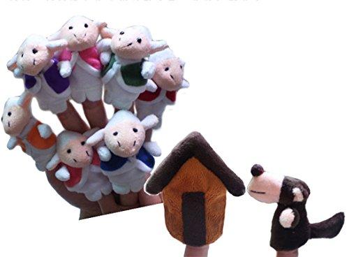 Happy Cherry - (Set de 9 Marionetas de Dedos Peluche Juguetes Juegos para Niños niñas Bebes Juego de Papel- Historia de Lobo y Siete ovejas