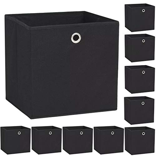 vidaXL 10x Aufbewahrungsbox Vliesstoff 32x32x32cm Schwarz Faltbox Regalkorb
