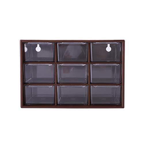 Viccilley Cajón de Escritorio Plástico portátil 9 Celosía Mini gabinetes Cajón Joyas Caja de Almacenamiento de cosméticos(marrón)