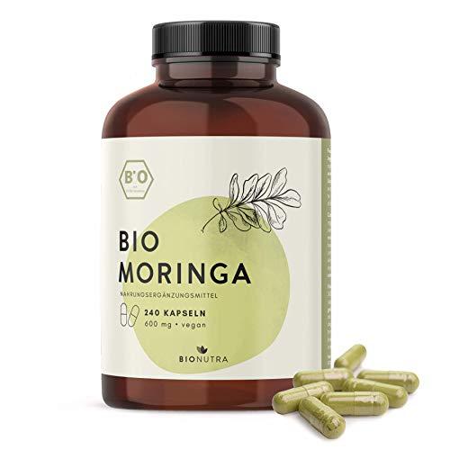 BioNutra® Moringa-Kapseln Bio (240 Kapseln mit je 600 mg), hochdosiert, Großpackung, deutsche Herstellung, vegan, 100% reines und natürliches Blattpulver der Moringa Oleifera, Einführungsangebot