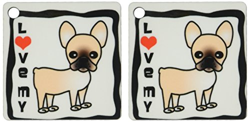 3dRose I Love My French Bulldog Black Masked Fawn Cream - Key Chains, 2.25 x 4.5 inches, set of 2 (kc_25346_1)