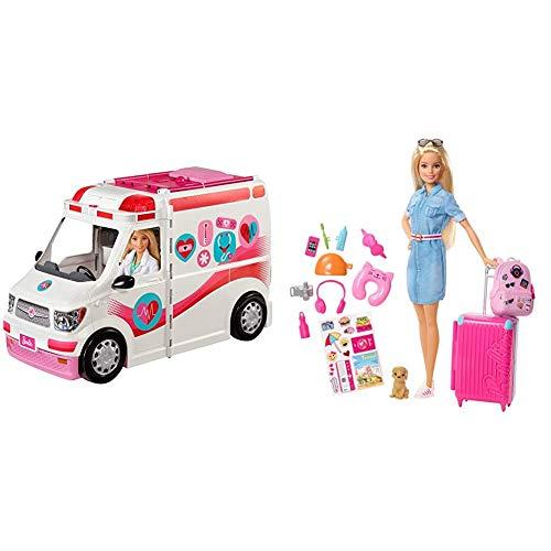 Barbie Ambulancia Hospital 2 en 1, Accesorios de muñecas (Mattel FRM19) + Vamos de Viaje, muñeca con Accesorios, Edad Recomendada: 3 años y mas (Mattel FWV25)