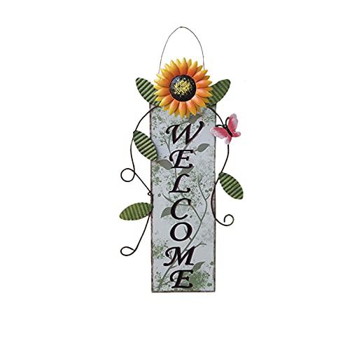 Clacce Wohnmöbel Schmiedeeisen Sonnenblume Willkommen bei der Auflistung Anhänger Dekoration Schild Willkommen Herz Garten-Deko Weiß Türschild Wandbild Wandschild 18 × 36 cm