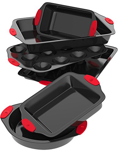 Vremi 6 Piece Nonstick Bakeware Set - Round and Square Baking Pans and Sheets in Non Stick Carbon Steel with Red Silicone Handles - Pan for Roasting Brownie Muffin Cake Cookie Muffin Cupcake and More