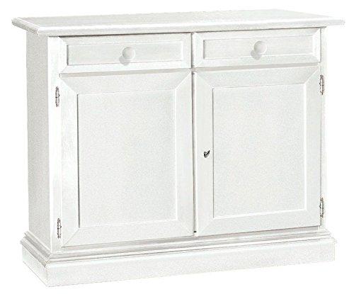 L'Aquila Design Arredamenti Classico Madia Bassa Shabby Chic Bianca con 2 sportelli e 2 cassetti Sala 105x42x85 1384
