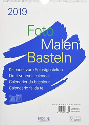 FMB weiß A4 267219 2019: Fotokalender zum Selbstgestalten. Hochwertiges, festes Bastelpapier. Do-it-yourself!