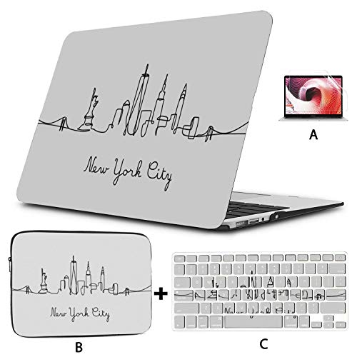 13inch MacBook Pro Case One Line Style New York City MacBook Air Protective Case Hard Shell Mac Air 11'/13' Pro 13'/15'/16' with Notebook Sleeve Bag for MacBook 2008-2020 Version