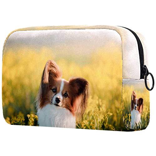Make-up Bag Organizer Kleine Kosmetiktaschen für Frauen Reise Kulturbeutel Make-up Fall Geldbörse Handtasche Hund Papillon auf in einem Feld von Blumen