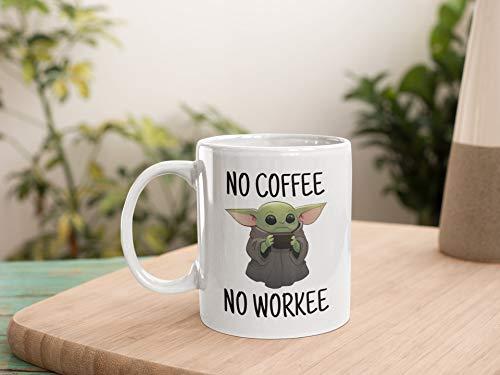 DKISEE Baby-Yoda-Tasse/Tasse mit Aufschrift 'No Coffee Workee', tolles Geschenk