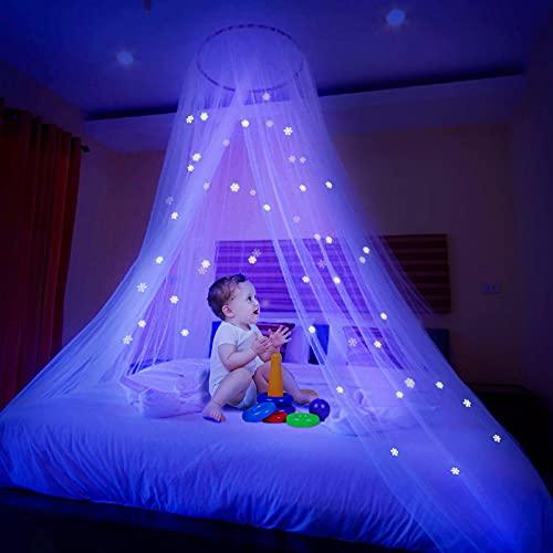 Ciaoed Mosquitera con diseño de copo de nieve, dosel de cama, dosel para cama de princesa, para interior o exterior, ideal como regalo para bebés, niños o hijas.