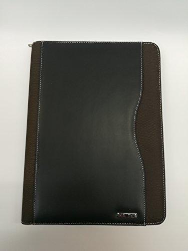 Sujetapapeles con cremallera de piel y tejido negro y marrón A4Puerta cuaderno documentos