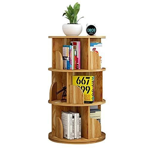 Librerie Bookshelfo Rotante a 360 ° Rotondo Piccolo tavolino tavolino da caffè Grande capacità di accoppiatura per Bambini Book Stand Angolo (Color : Wood, Size : 4 Layers (40 * 129cm))