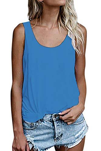 Damen Shirts Ärmellose Sommer Tunika Loose Fit Tank Tops (786Blau, XX-Large)