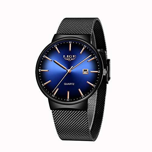 LIGE Relojes para Hombre Reloj de Cuarzo analógico Ultrafino de Moda Simple Reloj de Pulsera Impermeable de Acero Inoxidable Negro Reloj Minimalista con Fecha Azul
