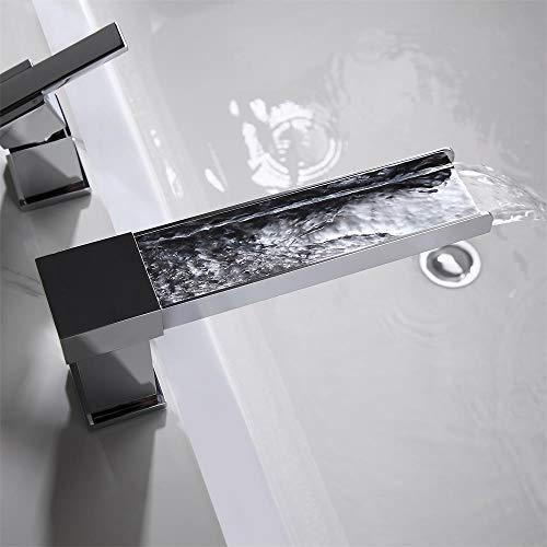 Lovedima Contemporary 3-Hole Bathroom Waterfall Bathtub Faucet Roman Tub Filler with Handheld Shower (Chrome)