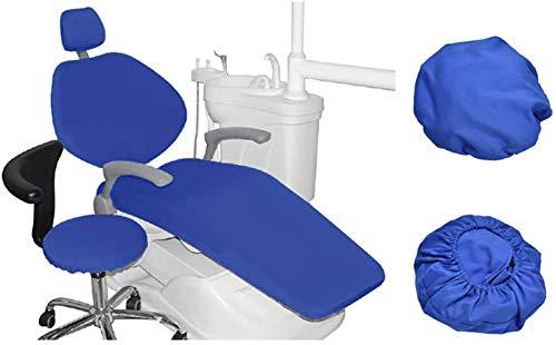 WLKQ 4 Piezas/Juego Silla Dental Cuero de la PU Cubierta de Asiento Funda de sillón Dental Elástico Impermeable Protector Dentista Contiene Reposacabezas Respaldo Amortiguar Cubierta de la Silla,Azul