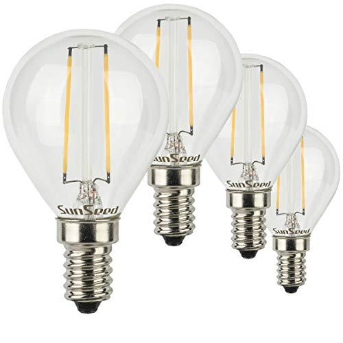 SunSeed® 4x Glühfaden LED Golfball-Lampe E14 2W ersetzt 25W Warmweiß 2700K