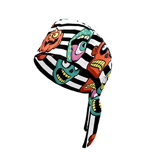 Yyjia Bedruckte Arbeitskappe mit Schweißband, verstellbar, Einheitsgröße für Damen und Herren, Cartoon, Teufelsaugen