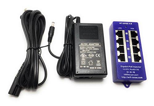 WT-GPOE-4B-24v60w, 4 Port Gigabit PoE-Injektor für 24 Volt Mikrotik und Ubiquiti Geräte mit 24 Volt 60 Watt Netzteil