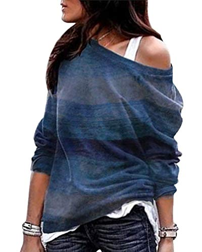 YOINS Camiseta Mujer de Manga Larga Blusa con Hombros Fríos Camisa Casual Camisetas a Rayas Cuello Redondo Imprimiendo Pullover A-Azul XL