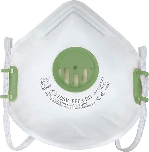 Oxyline X 310 SV FFP3 R D Atemschutzmaske Halbmaske Staubmaske Atemmaske infektionssichere Wiederverwendbare Schutzmaske mit Ventil - 10 Stück