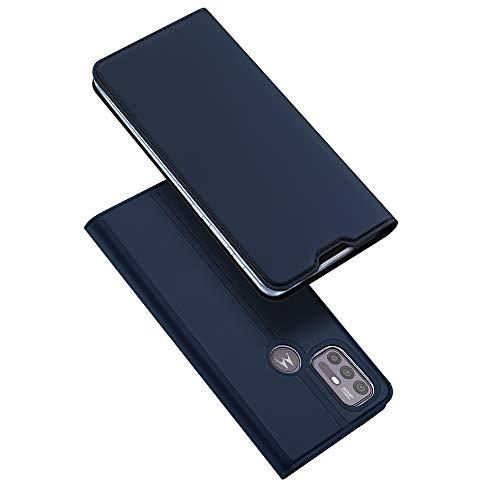 DUX DUCIS Hülle für Motorola Moto G30, Moto G10 Hüllen, Leder Klappbar Handyhülle Schutzhülle Tasche Hülle mit [Kartenfach] [Standfunktion] [Magnetisch] (Blau)
