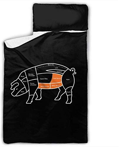 What Part of The Pig Does Bacon Come Kids Toddler Nap Mat with Pillow - Includes Pillow & Fleece Blanket for Boys and Girls Napping at Daycare, Preschool, Or Kindergarten