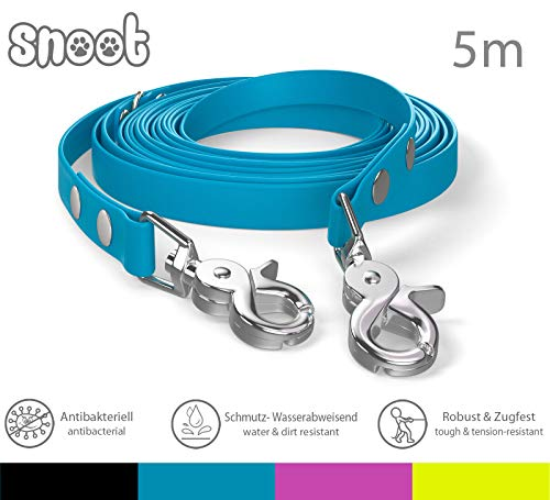 SNOOT Schleppleine 5m - Cyan Blau - zugfeste, schmutz- und Wasserabweisende Hundeleine mit Zwei Karabinern