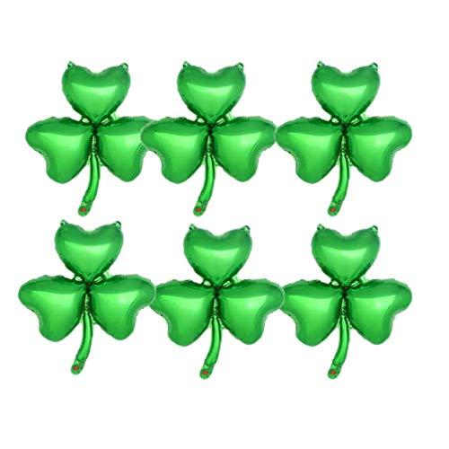 VALICLUD 10 Piezas Globos Del Día de San Patricio Globos de Trébol de Papel de Aluminio Trébol de La Suerte Globos de Primavera para El Festival Irlandés Decoraciones de Fiesta Verde