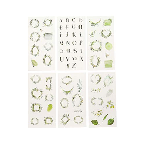 CAOLATOR 6 Blatt Aufkleber Blätter Sticker Kinder Mädchen Stickers aus Papier für Scrapbooking Stickerbuch Tagebuch Fotoalbum Notizbuch Kalender Dekoration Grün