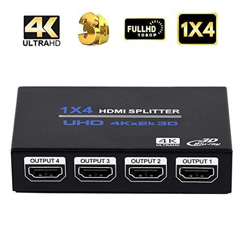1x4 HDMIスプリッター HDMI 分配器 1 入力 4 出力 HDMIスプリッターオーディオビデオディストリビューターボックス 3D 4K x 2K HDTV、STB、DVD、PS3、プロジェクターなど対応