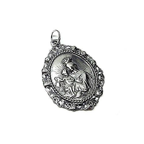Colgante plata ley 925m 40mm. medalla Virgen Carmen [AA8420]