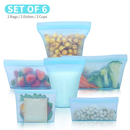 Reusable food container silicone bag, Upgrade second generation 6 Pcs Zip Lock Containers Storage, 100% Silicone Reusable Food Bag, Stand Up Preservation Bag, Rounded interior for easy cleaning.