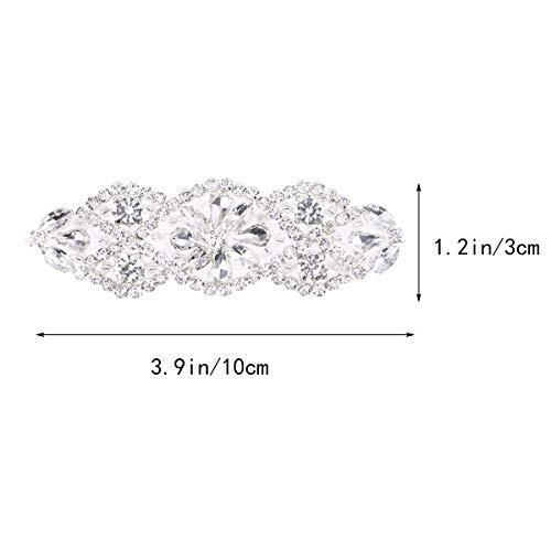 Apliques nupciales de 2 piezas Apliques de diamantes de imitación transparentes, Correa nupcial de cristal Apliques de plata (Diamante blanco plata)