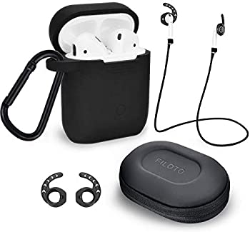 Case for Airpods Accessories Set Filoto Airpod Silicone Case Cover with Keychain/Strap/Earhooks/Accessories Storage Travel Box for Apple Airpods 2&1 Best Gift for Your Air Pod  Black
