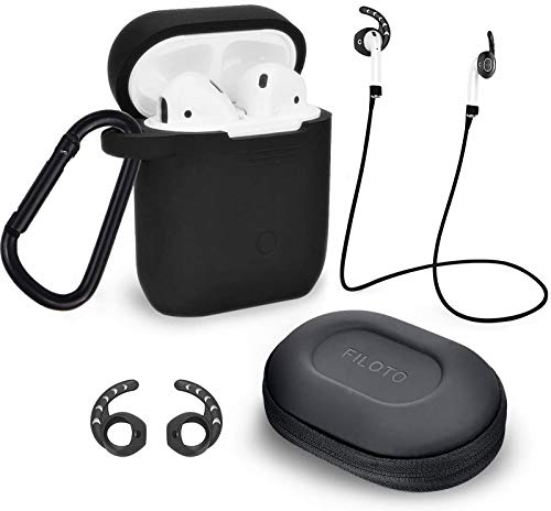 Case for Airpods Accessories Set, Filoto Airpod Silicone Case Cover with Keychain/Strap/Earhooks/Accessories Storage Travel Box for Apple Airpods 2&1, Best Gift for Your Air Pod (Black)