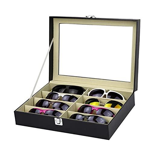 Lshbwsoif Caja de almacenamiento de gafas de sol con 8 ranuras para gafas de sol caja de almacenamiento para hombres y mujeres