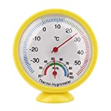Lesiey Mini Yellow Practical Indoor Outdoor Mechanical Thermometer Hygrometer Termometro Temperature Humidity Meter Weather Monitor  Yellow