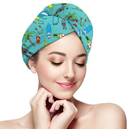 Mikrofaser-Haartuchwickel Der perfekte, schnell trocknende Anti-Frizz-Turban mit nasser, trockener Bürste, wunderschönes Windsurfbrett mit einer Segel-Neoprenanzug-Sonnenbrille