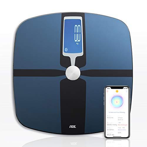 ADE Báscula de análisis corporal BA1600 FITvigo. Excelente App. gratuita. Peso hasta 180kg. Indice de masa corporal y osea, agua. Bluetooth. Revestida en ITO y Cristal. Incluye baterías. Color Azul