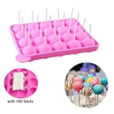 Cake Pop Moulds Ice Cube Trays, with 100 Sticks Silicone Lollipop Candy Gumdrop Jelly Molds, Pink