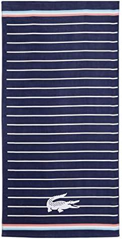 Lacoste Sunbeam 100 Cotton Beach Towel 36 W x 72 L Striped Navy Blue product image